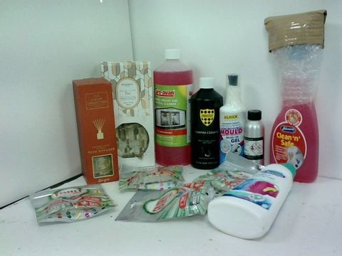 SMALL BOX OF ASSORTED LIQUID HOMEWARE ITEMS TO INCLUDE REED DIFFUSER, DR.BECKMANN ODOUR REMOVER, KILROK MOULD GEL