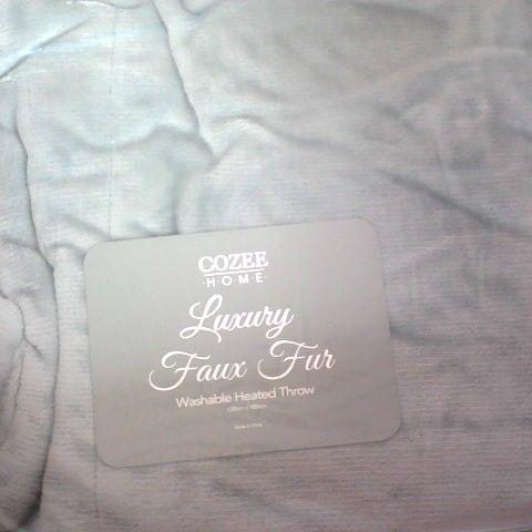 COZEE HOME LUXURY FAUX FUR HEATED THROW GREY