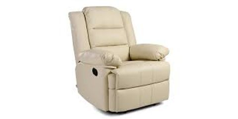 BOXED DESIGNER LOXLEY CREAM LEATHER MANUAL RECLINING EASY CHAIR