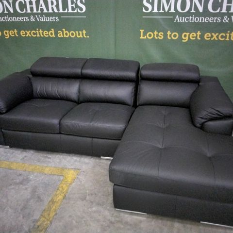 DESIGNER ITALIAN STYLE BLACK LEATHER CHAISE SOFA WITH ADJUSTABLE HEADRESTS
