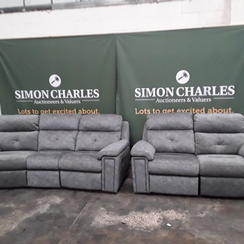 QUALITY G-PLAN BURFORD PRAMA PEWTER FABRIC THREE SEATER CURVED SODA AND TWO SEATER POWER RECLINING SOFA