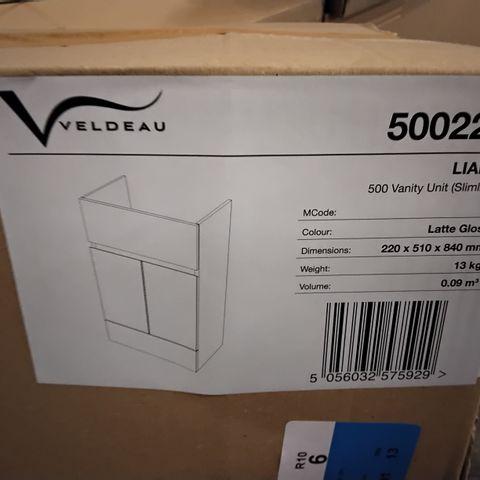 BOXED VELDEAU LIANA SLIMLINE 500 VANITY UNIT- LATTE GLOSS