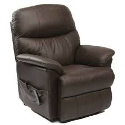BOXED BROWN LEATHER RISE & RECLINING EASY CHAIR  (2 BOXES)