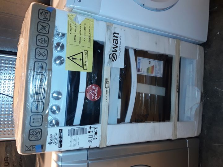 SWAN SX15871W 50CM WIDE TWIN CAVITY GAS COOKER - WHITE