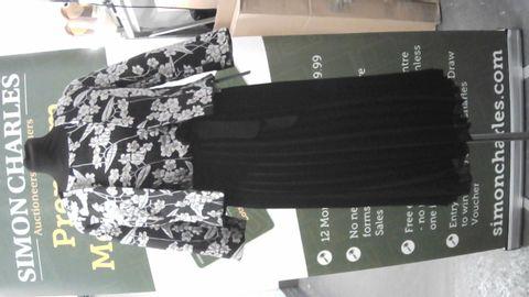 ROMAN BLACK/GOLD FLORAL DRESS WITH MATCHING JACKET  UK SIZE 10