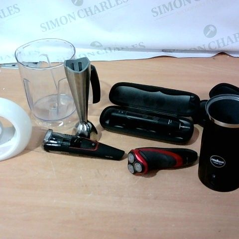 LOT OF APPROXIMATELY 16 ASSORTED HOUSEHOLD ELECTRICAL ITEMS, TO INCLUDE TOOTHBRUSHES, SLEEP NIGHTLIGHT, LAVAZZA MILK EASY ETC