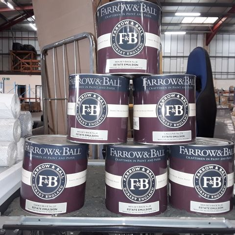 LOT OF 6 ASSORTED 2.5L TINS OF FARROW & BALL EMULSION PAINT