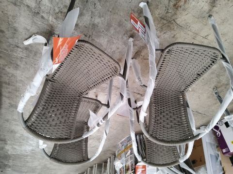 SET OF 4 BARI STEEL ARMCHAIRS WITH RATTAN EFFECT