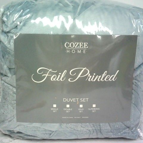 COZEE HOME FOIL PRINTED DUVET SET IN BLUE - KING SIZE
