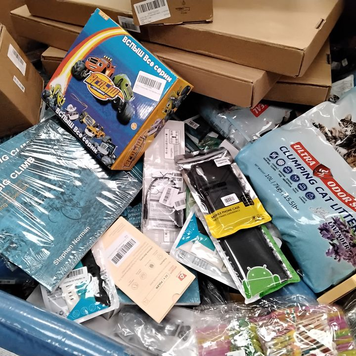 PALLET OF ASSORTED ITEMS INCLUDING, CLUMPING CAT LITTER,MOBILE PHONE CASES, THE BIG CLIMB CYCLING BOOKS, SOAP DISPENCERS, WATCH STRAPS, BED TABLES.