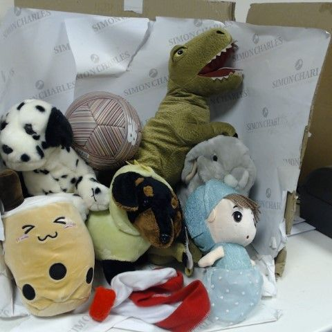 6 ASSORTED CUDDLY TOYS TO INCLUDE LARGE T-REX, SAUSAGE DOG AND BUNNY RABBIT