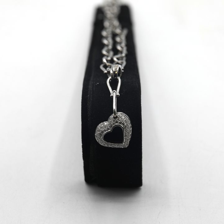 DESIGNER 18ct WHITE GOLD MODERN HEAVY LINK CHAIN WITH INTEGRATED DIAMOND SET PENDANT +-0.90ct, GOLD WEIGHT +-32 GRAMS