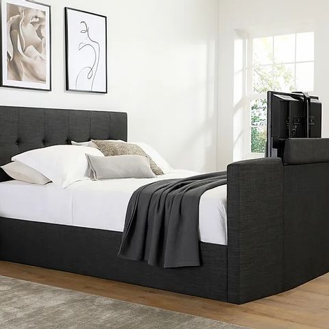 BOXED LANGHAM SLATE GREY FABRIC OTTOMAN KING SIZE TV BED  (5 BOXES)