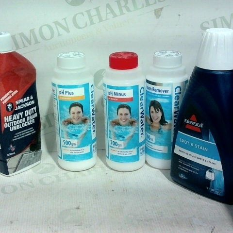 LOT OF APPROX. 15 ASSORTED ITEMS TO INCLUDE: BISSELL SPOT AND STAIN FOR CLEANING MACHINES, CLEAR WATER PH MINUS, CLEAR WATER PH INCREASER