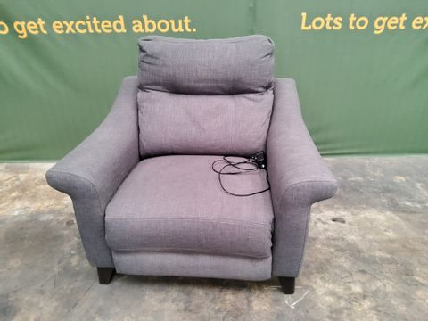 QUALITY G PLAN FLAIR OASIS CHARCOAL FABRIC POWER RECLINING EASY CHAIR