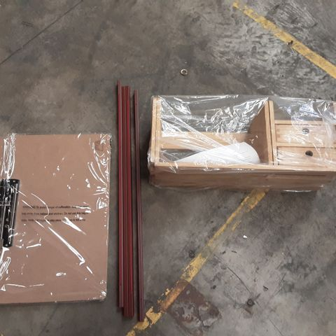 PALLET OF ASSORTED ITEMS TO INCLUDE 2 PACK 70CM MAHOGANY POSTER HANGER, 3 PACK PAPER MERLIN LEDGER CLIPBOARD AND DESK SUPPLIES ORGANISER
