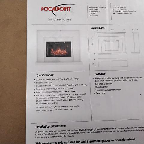 FOCALPOINT EASTON ELECTRIC SUITE 2.0KW FAN HEATER