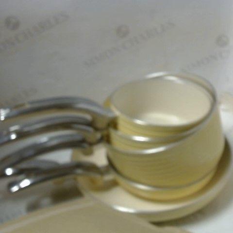 SWAN RETRO PAN SET WITH EASY CLEAN NON-STICK CERAMIC COATING, ALUMINIUM, CREAM, 5 PIECE