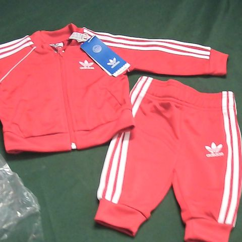 ADIDAS SCARLET RED TRACKSUIT 3-6 MONTHS