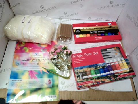 A MEDIUM BOX OF ASSORTED ARTS AND CRAFTS ITEMS