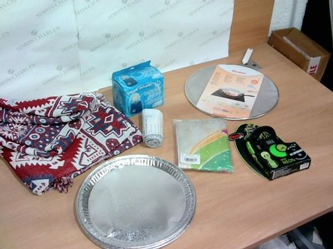 BOX OF ASSORTED HOUSEHOLD ITEMS TO INCLUDE FLEXI PET LEASH, DISPOSABLE TRAYS, STEAM INHALER ETC