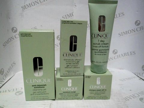 CLINIQUE SELECTION OF ITEMS INC CLEANSING GEL, MOISTURE GEL, MOISTURE SURGE, SMART SPF15 AND 7 DAY SCRUB CREAM