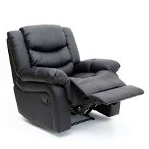 BOXED DESIGNER SEATTLE BLACK LEATHER MANUAL RECLINING EASY CHAIR