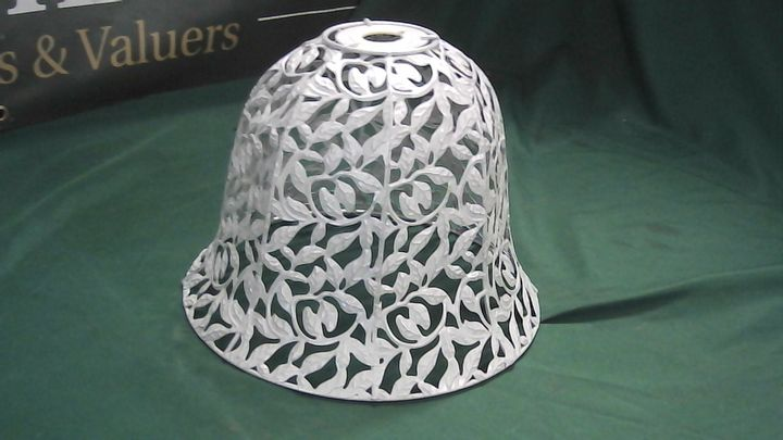 WHITE METAL LEAF DETAIL BELL SHAPED LAMPSHADE
