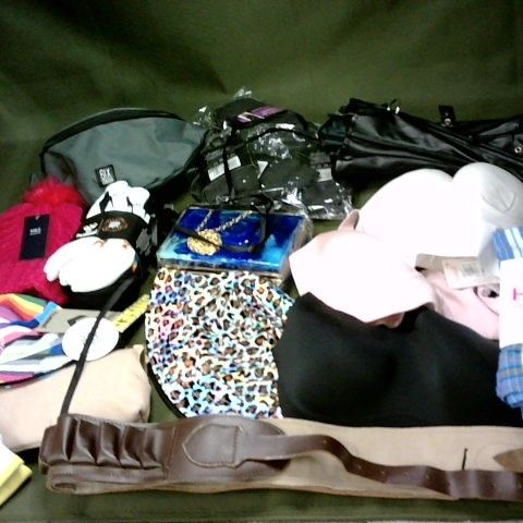 LOT OF APPROXIMATELY 30 ASSORTED CLOTHING ACCESSORIES TO INCLUDE BAGS, SOCKS BRAS AND HATS