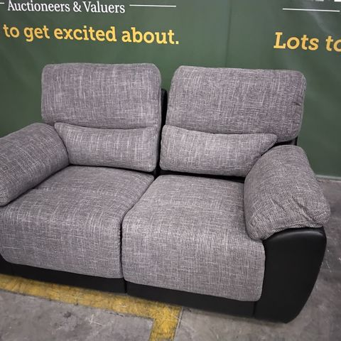 DESIGNER BLACK FAUX LEATHER & GREY FABRIC MANUAL RECLINING TWO SEATER SOFA