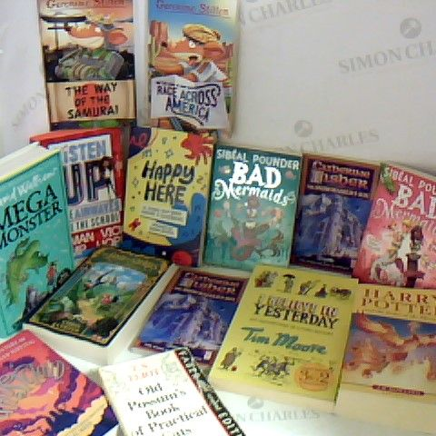 ASSORTMENT OF APPROX 14 CHILDRENS FICTION BOOKS INCLUDING DAVID WALLIAMS MEGA MONSTER AND SIBEAL POUNDER BAD MERMAID