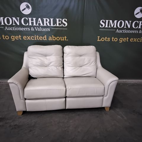 QUALITY G PLAN SEATTLE CAMBRIDGE STONE LEATHER POWER RECLINING TWO SEATER SOFA