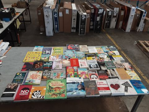 CAGE OF ASSORTED UNPROCESSED BOOKS TO INCLUDE TITLES BY NORAH LANGE, JIM HUTTON, JON RONSON,  JAMES PATTERSON, SOREN KIERKEGAARD, ETC