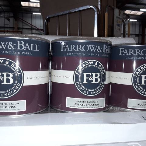 LOT OF 3 ASSORTED 2.5L TINS OF FARROW & BALL PAINT