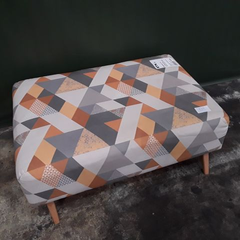 QUALITY ZEST GEOMETRIC PATTERNED BANQUETTE FOOTSTOOL