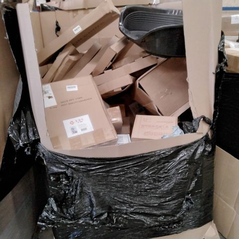 PALLET OF ASSORTED ITEMS INCLUDING, BOXED STORAGE SHELVES, BOXED PYROGRAPHY MACHINES, LAPTOP DESKS, PET BEDS,