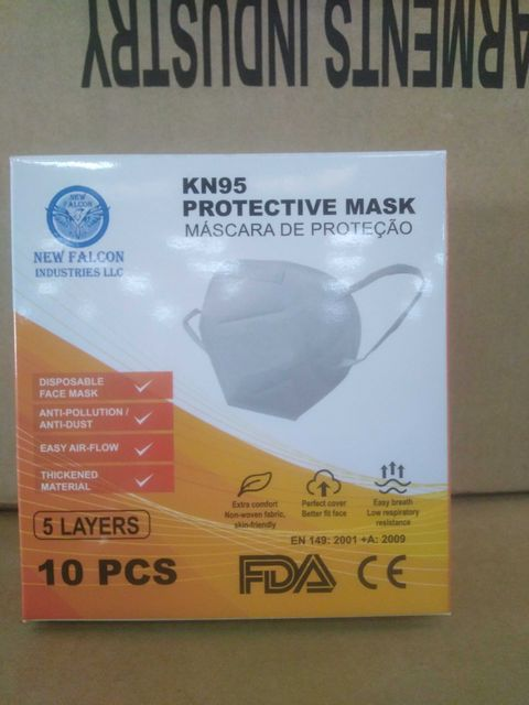 PALLET OF APPROXIMATELY 20 BOXES OF NEW FALCON INDUSTRIES KN95 PROTECTIVE MASKS(84 SETS OF 10 PER BOX)