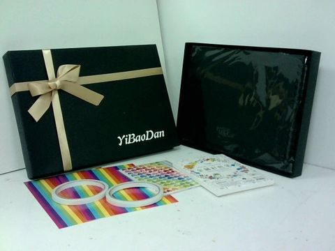 YIBAODAN CRAFT SET WITH STICKERS, PENS, A4 BLACK PAPER PAD