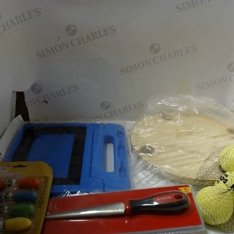 LARGE BOX OF A SIGNIFICANT QUANTITY OF ASSORTED HOUSEHOLD ITEMS TO INCLUDE; TENNIS BALLS, TOOLS, KITCHEN UTENSILS ETC