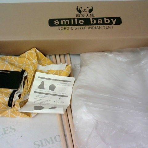 SMILE BABY NORDIC STYLE INDIAN TENT YELLOW GEOMETRIC PATTERN WITH SMALL CHALKBOARD SIGN LABEL