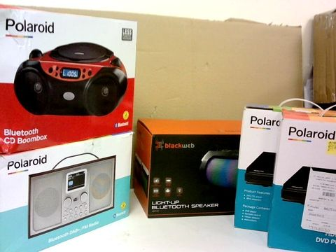 BOX OF ASSORTED ELECTRICAL ITEMS TO  INCLUDE; DVD PLAYERS, BLUETOOTH SPEAKER, CD BOOMBOC ETC