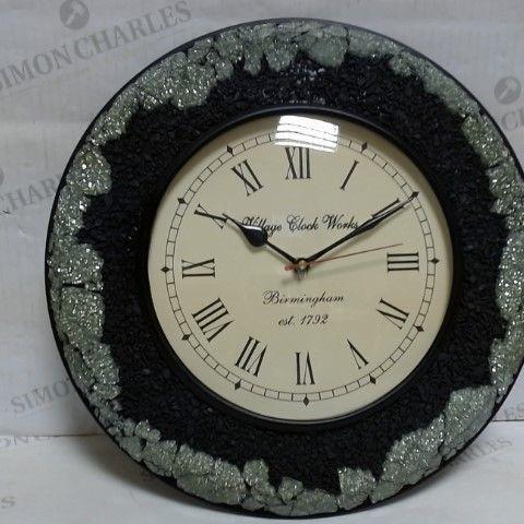 LOT OF APPROXIMATELY 6 VILLAGE CLOCK WORKS SHUNGITE GLASS MOSAIC WALL CLOCKS