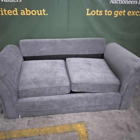 DESIGNER GREY FABRIC FIXED TWO SEATER SOFA - NO BACK CUSHIONS