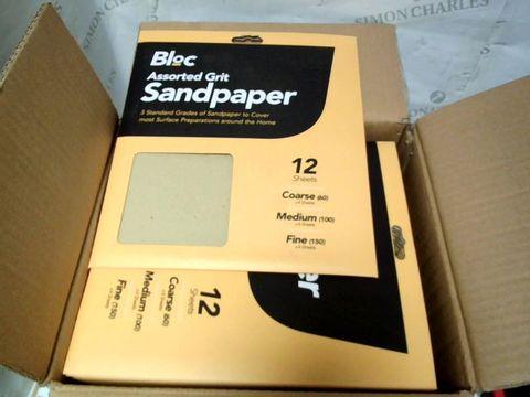 JOB LOT 12 x BLOC ASSORTED GRIT SANDPAPER 12 SHEETS PER PACK