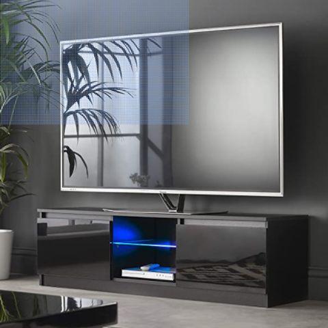 MMT RTV 1400 BLACK TV STAND CABINET UNIT WITH LED LIGHTS