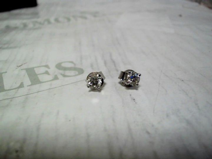 18CT WHITE GOLD 50 POINT DIAMOND SOLITAIRE EARRINGS