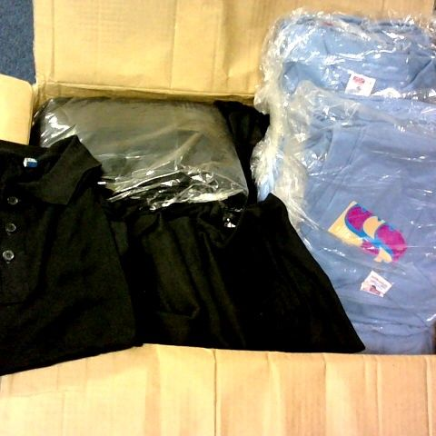 LARGE QUANTITY OF ASSORTED BOYS POLO SHIRTS IN BLACK AND BLUE - VARIOUS SIZES