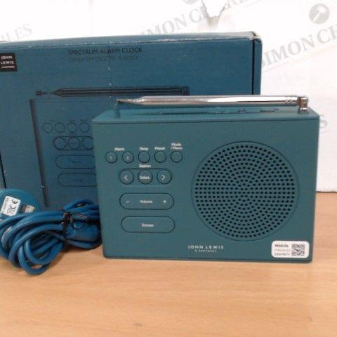 JOHN LEWIS SPECTRUM ALARM CLOCK AND DAB+/FM DIGITAL RADIO
