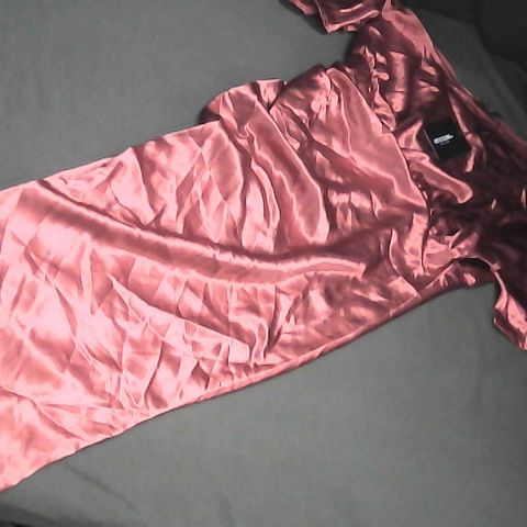 PRETTY LITTLE THING RUST SATIN ONE SHOULDER DRESS UK SIZE 12
