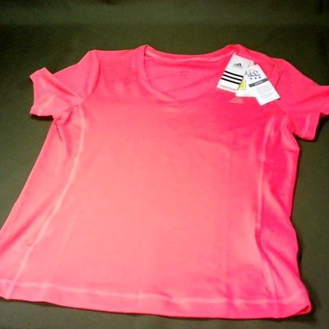 ADIDAS CLIMALITE V-NECK T-SHRT IN PINK - L 16-18